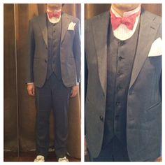 suit:リネンブルーグレー shirt:ピンクストライプ bowtie:リネンワッシャーピンク  #新郎#カジュアルウエディング