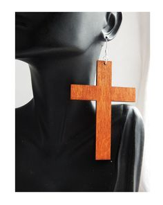 New to TheBlackerTheBerry on Etsy: Large Wood Cross Earrings Cross Jewelry Wood Jewelry Natural Wood Cross Earring Jesus Jewelry Wooden Earrings
