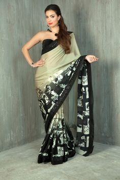 Pure satin georgette multiple faces digital printed saree with sequins border. Item number W15-44