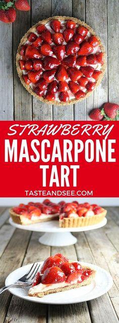 Beautiful & luscious Strawberry Mascarpone Tart.  Shortbread crust w/velvety mascarpone cheese mixture, topped w/glazed strawberries.  Creamy &  berry sweet. | http://tasteandsee.com