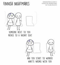 """Finnish illustrator Karoliina Korhonen has created a funny series of cartoons that she published in a book """"Finnish Nightmares: An Irreverent Guide to Life's Awkward Moments"""". It depicts typical Finns, but we are pretty sure even non-Finns can relate. Introvert Problems, Meet Local Singles, Funny Dating Quotes, Carl Jung, Awkward Moments, Bored Panda, Funny Photos, Erotic, Baby"""