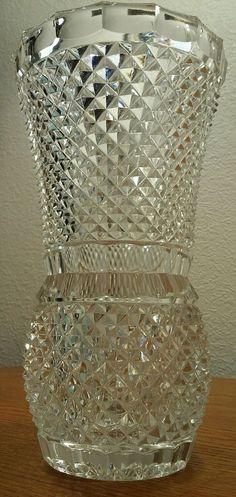 "Antique Crystal Diamond Point 8"" Vase EXC #Unknown"