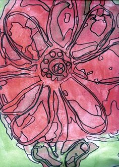 Flowers, Grade 6 (glue, watercolor, and fine point black marker)