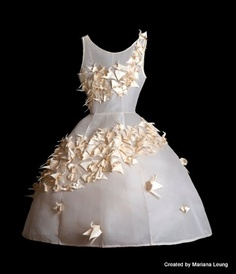 Silk organza and silk gazar Bridal gown origami dress by Mariana Leung (Weng Meng Design Studio)  origami fashion