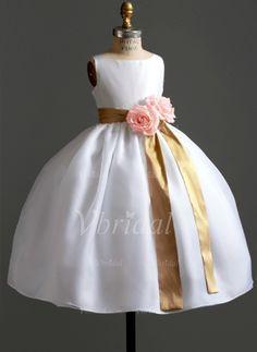 Robes de demoiselle d'honneur - fillette - $112.79 - Forme Princesse Col rond Longueur ras du sol Organza Satiné Robe de demoiselle d'honneur - fillette avec Ceintures (01005009711)