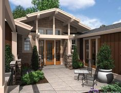 All under one roof on pinterest house plans floor for Multi family house plans with courtyard