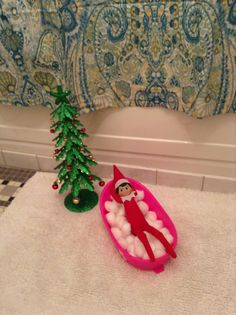 Chippy took over the doll's bathtub and found a Christmas tree, too.