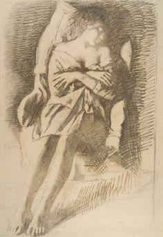 Balthus - Figurative Painting - Katia's sleeping - Katia Endormie - Drawing - 1969