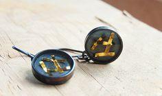 24k gold and sterling silver dangle earrings. by MarthaLjewellery
