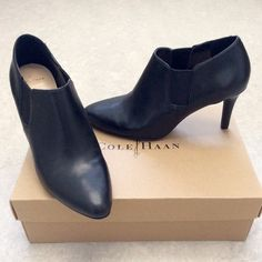 """COLE HAAN Black Booties 3"""" heel height.  Worn only once as you can see from the bottom soles.  There's some marks left in the inner soles from peeling off price stickers previously; otherwise in excellent condition.  Size 7B. Cole Haan Shoes Ankle Boots & Booties"""