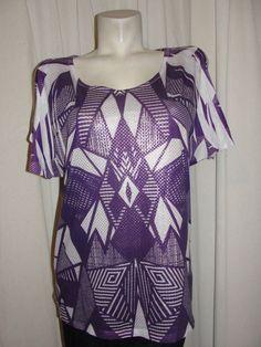 ASHLEY STEWART Top Purple White Silver 100% Polyester Slit Sleeve Shirt Size 12 #AshleyStewart #Blouse #Casual