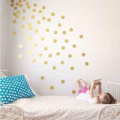 Polka Dots Polka dots are a ton of fun in a child's bedroom (or even in the master bedroom if you have a sense of whimsy), and what could be easier than dressing up the walls with easily-applied, easily-removed vinyl stickers? Spread them out evenly, let your child position the dots randomly, or create the feel of sprinkling starlight as in the cute bedroom shown here... it's up to you.
