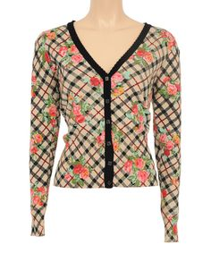 Look at this Louie et Lucie Cream & Black Floral Cardigan on #zulily today!