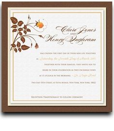 185 Square Wedding Invitations - Rose Orange Chocolate Mint by WeddingPaperMasters.com. $481.00. Now you can have it all! We have created, at incredible prices & outstanding quality, more than 300 gorgeous collections consisting of over 6000 beautiful pieces that are perfectly coordinated together to capture your vision without compromise. No more mixing and matching or having to compromise your look. We can provide you with one piece or an entire collection in...