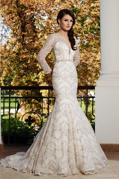 maya bridal 2015 limited collection e03 illusion neckline long sleeve trumpet wedding dress lace embroidery