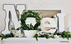 Jennifer Rizzo: Welcome to the 2012 Virtual Holiday Housewalk! LOVE This noel! Christmas Mantels, Santa Christmas, All Things Christmas, White Christmas, Christmas Crafts, Christmas Decorations, Christmas Ideas, Holiday Decorating, Holiday Ideas
