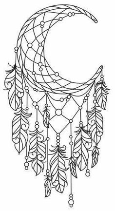 Moon Dreamcatcher Colouring Page