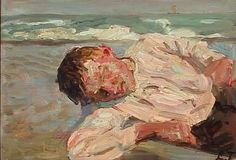 Laurits Tuxen - A boy resting on the beach