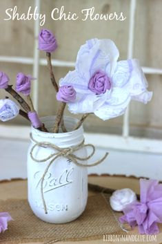 You will never guess what these DIY Shabby Chic Flowers made from?   Such a fun table centerpiece idea for a ladies Retirement or Over the Hill Party!   #sp #RecycleYourPeriodPad