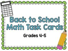 Task Cards can be used in so many ways! Whole group activities like a scavenger hunt and Scoot, stations, small groups, and individual students can use them for review. This Back to School set includes word problems and basic computation using Multiplication, Division, Addition, and Subtraction.