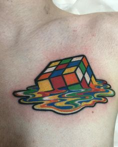 Melting Rubiks Cube (Laetitia at Angel Tattoos in Tampa, FL) : tattoos 90s Tattoos, Dope Tattoos, Mini Tattoos, Body Art Tattoos, Tatoos, Awesome Tattoos, Colored Tattoo Design, Tattoo Sleeve Filler, Castle Tattoo