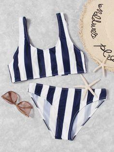 Shop Striped Scoop Neck Top With Seam Bikini Set online. SHEIN offers Striped Scoop Neck Top With Seam Bikini Set & more to fit your fashionable needs. Bikini Swimwear, Bikini Set, Npc Bikini, Swimwear Fashion, Bikini Fashion, Cute Bathing Suits, Target Bathing Suits, Cute Swimsuits, Striped Bikini