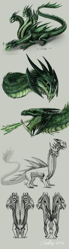 Hydra Boss Concept by PurpleTigress on DeviantArt Mythological Animals, Wings Of Fire Dragons, Centaur, Character Description, Drawing Tools, Fantasy Creatures, Game Design, Mythology, Boss