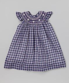Plaid Smocked Angel-Sleeve Dress