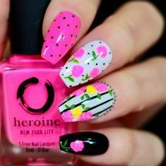 Want some ideas for wedding nail polish designs? This article is a collection of our favorite nail polish designs for your special day. Neon Pink Nail Polish, Neon Nail Art, Floral Nail Art, Neon Nails, Diy Nails, Cute Nails, Simple Nail Art Designs, Short Nail Designs, Nail Polish Designs