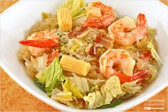 Napa cabbage, bacon, shrimp and cellophane noodles combine to make a satisfying one-dish meal with a balanced medley of smoky, sweet, salty and spicy flavors.