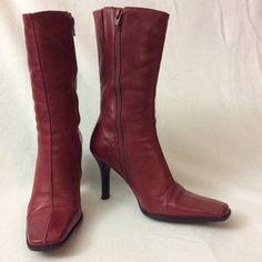 Red boots. Genuine leather. Made in Italy. Simply beautiful. Red used Diba boots. Leather upper. Made in Brazil. Diba Shoes Heeled Boots