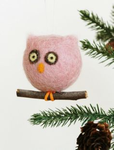 8 Brown Fuzzy Feather Standing Horny Owl Christmas Ornament