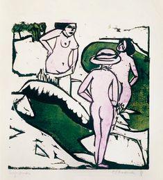 Three women taking a bath - Ernst Ludwig Kirchner