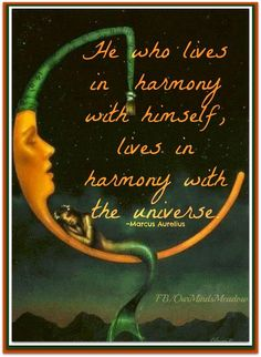 """He who lives in harmony with himself, lives in harmony with the universe."" - Marcus Aurelius"