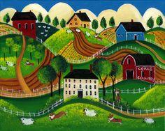 Country Folk Art Prints | Corig Dog Country Folk Art Print