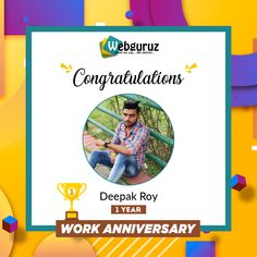 Congratulations, Mr Deepak!!  Your contribution and your commitment to the work are unmatched, wish you a happy work anniversary. . #WorkAnniversary #thankyou #celebration #Webguruz #India