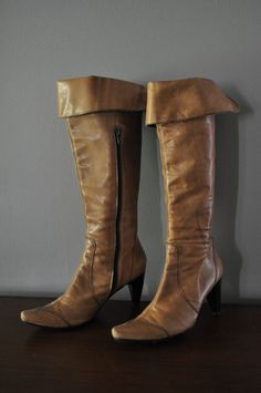 Vintage Tall Cuffed Soft Tan Leather Boots Size 37 (US 6.5) Made in Spain
