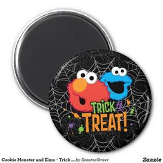 Cookie Monster and Elmo - Trick or Treat. Regalos, Gifts. #imanes #magnets