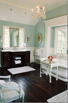 beautiful wall color, probably Sea Salt or something similar, with white and dark wood & vintage fixtures