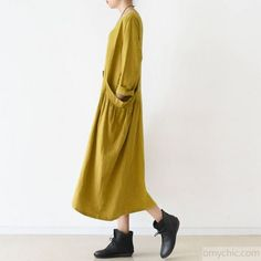 2017 spring fine yellow linen dresses cozy large pockets oversizedThis unique deisgn deserves the best quality texture. The fabric of this article is soft, comfortable and breathy.Flattering cut. Makes you look slimmer and matches easlily with jeans, leggings stylish pants or skirts. Measurement: One Size:   bust 116cm / 45.24