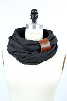 Dark charcoal circular infinity scarf unisex  men's by System63, $56.25