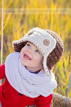 Crochet Aviator Hat with Button Flap