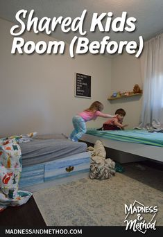 We're kicking off the Spring One Room Challenge with a bedroom makeover. Check out our shared kids' room before and red & blue moodboard! Closet Built Ins, Closet Shelves, Kids Bedroom, Bedroom Decor, Red Walls, Nursery Neutral, Young And Beautiful, Guest Bedrooms