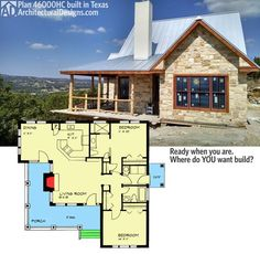 "Architectural Designs Hill Country House Plan 46000HC gives you 2 beds and over 1,000 sq. ft. of living. And a great ""L""-shaped porch. Shown client-built in Texas. Ready when you are. Where do YOU want to build?:"