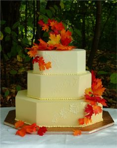 Faux leaves - inexpensive but really bring color to the cake.