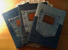Repurposed denim notebook covers