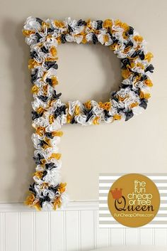 Cool idea for a front door too! The Fun Cheap or Free Queen: Yellow & Gray Nursery tutorials: Giant Rosette Wall Letter + bonus hair bow tutorials Fun Crafts, Diy And Crafts, Arts And Crafts, Grey Yellow Nursery, Diy Letters, Letter Crafts, Paper Letters, Fabric Letters, Flower Letters