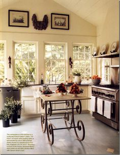 An airy table  gives a kitchen more counter top area -  temporary or permanent  - without the clunkiness of solid islands.  I could see using a patio table for this. Why not have indoor/outdoor multifunction furniture? Change out as needed. We do this at our small cottage with chairs - pretty indoor/outdoor ones.