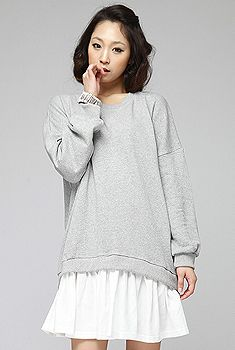 sweatshirt dress idea... could use this as a loose pattern.. sweatshirt+lace or other material sewed on bottom
