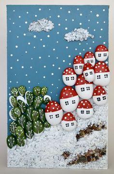Bulutlu Karlı Köy, Taş Tablo, Karlı Kırmızı Çatılar